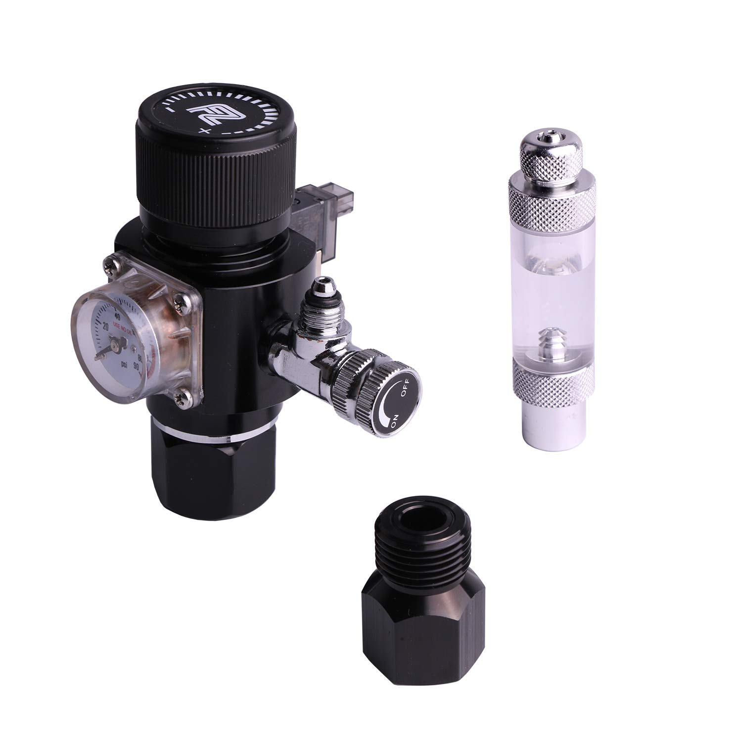 FZONE Aquarium CO2 Regulator Triple Stage with DC Solenoid and Bubble Counter Check Valve Compatible Paintball Tank CGA320 CO2 Cylinder by FZONE