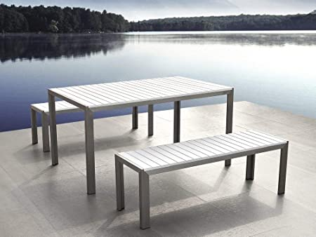 Garden Dining Furniture Poly Wood Table And Benches NARDO White - Polywood picnic table with benches