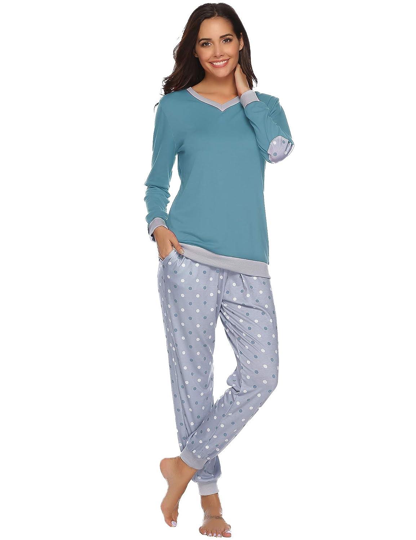 Hawiton Pijama Mujer Verano Largo Algodon Otoño Invierno ...
