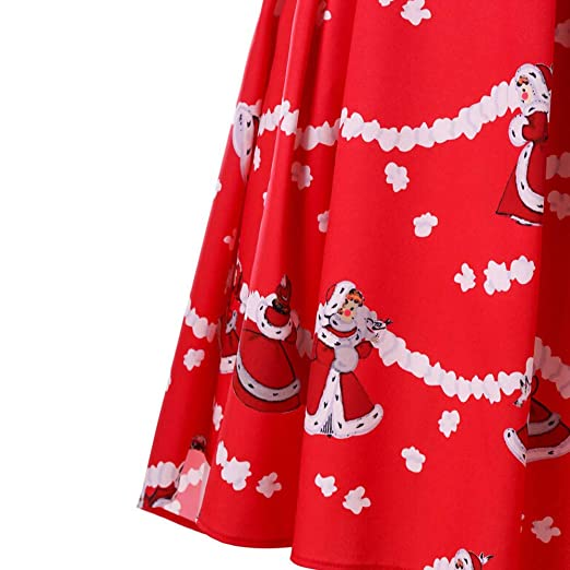 Amazon.com : Youngh New Womens Christmas Dress Santa Claus Print Lace Loose A-Line Fashion Maxi Dress Cocktail Party Dress : Grocery & Gourmet Food