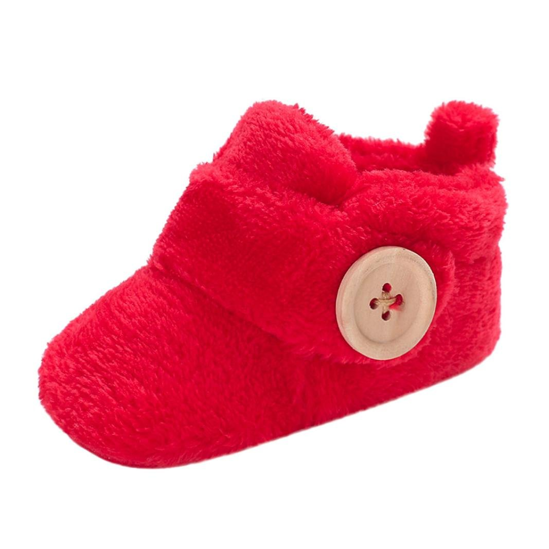 Kolylong Lovely Toddler First Walkers Boots Baby Shoes Fluffy Round Toe Flats Soft Artificial Fur Slippers Shoes