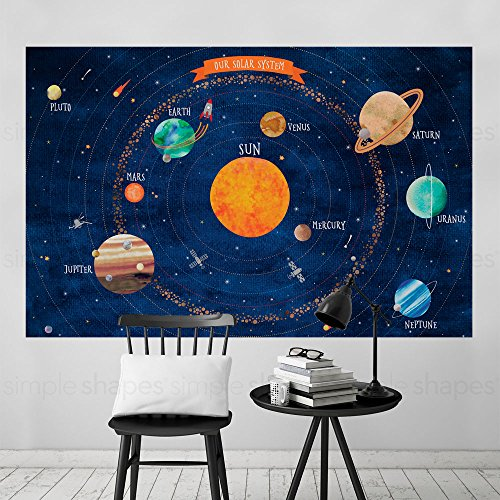 Solar System Poster Wall Sticker - by Simple Shapes (Large - 70''w x 45.5''h) by Simple Shapes