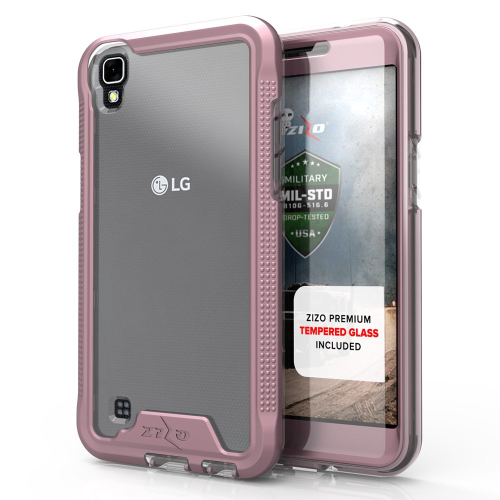 Zizo ION Series Compatible with LG X Power Case Military Grade Drop Tested with Tempered Glass Screen Protector LG X Power K210 Case Rose Gold Clear