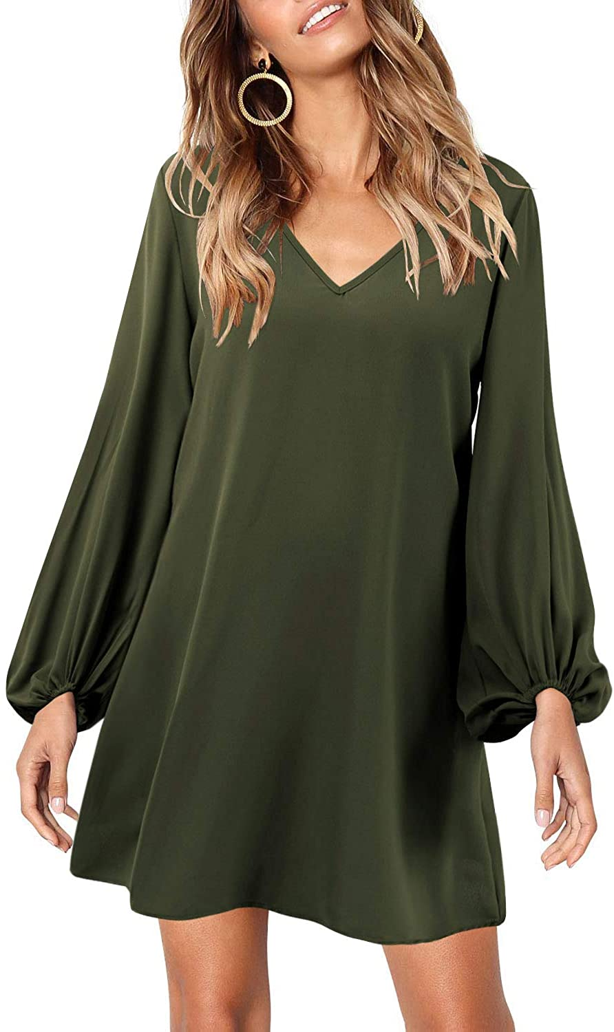 Wine chiffon Evening Cocktail V neck Lined Bell Long Sleeves Shift Tunic Dress