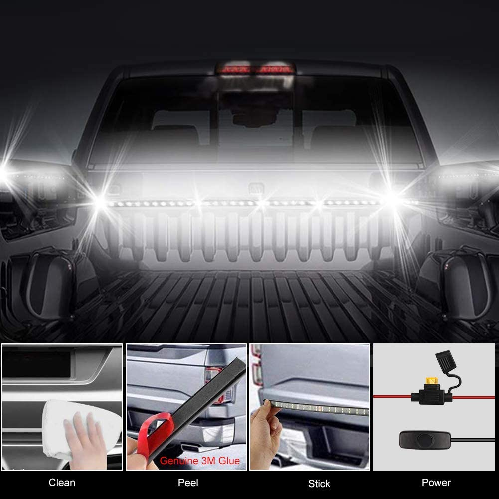 Wigbow LED Truck Bed Light Cargo Bed Strip Lamp 2Pcs 60 Inch White Waterproof Lighting Kit with On-Off Switch Fuse 2-Way Splitter Cable for Jeep Pickup RV SUV and More