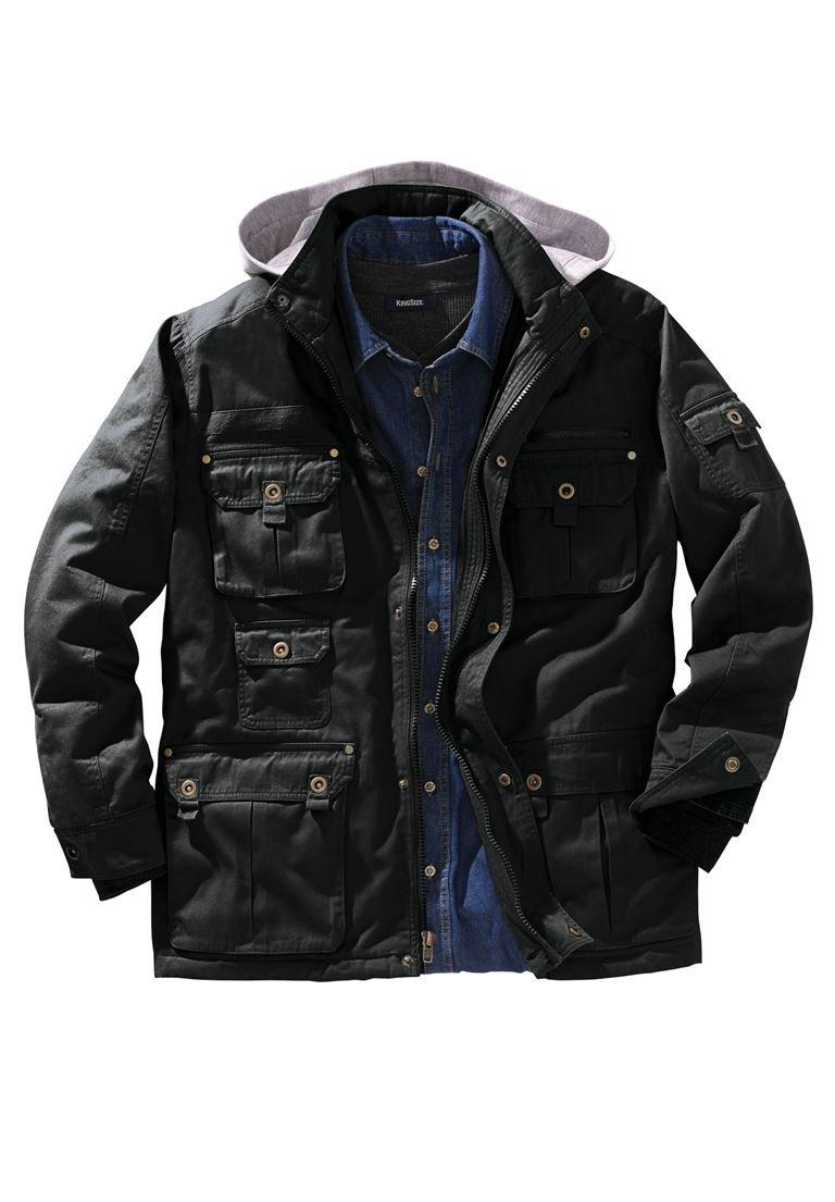 Boulder Creek Men's Big & Tall Multi-Pocket Lined Twill Jacket, Black Tall-3Xl by Boulder Creek