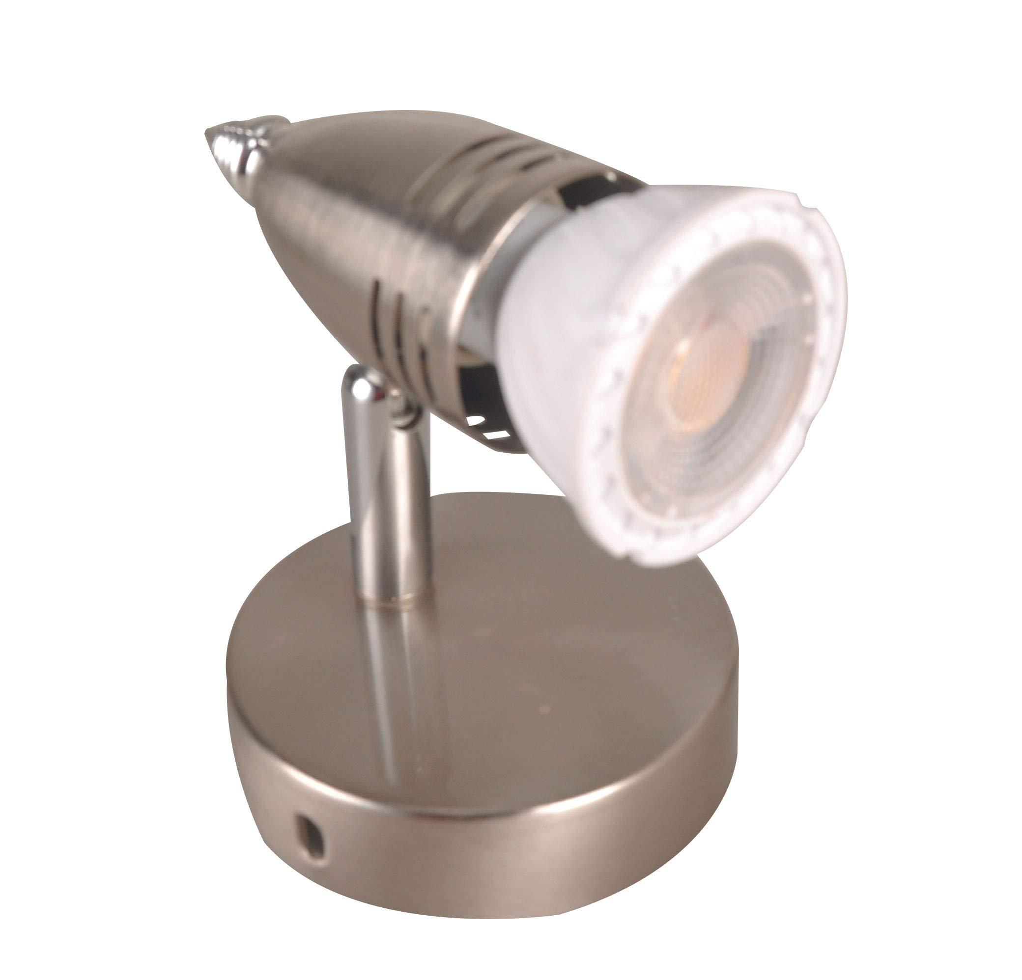 KIMYAN Brushed Nickel Spotlight Accent Uplight with MR16GU10 LED Bulb,Warm White,CRI90, Cord-n-Plug