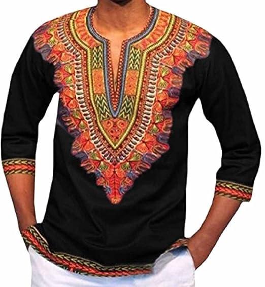 9409655405b RDHOPE-Men African V Neck Dashiki Floral Printed Half Sleeve Shirt Top  Black XS