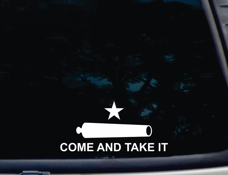 Texas Molon Labe 7 x 3.5 CMI215 Come and Take It Flag Bumper Sticker Vinyl Car Window Decal White 2nd Amendment