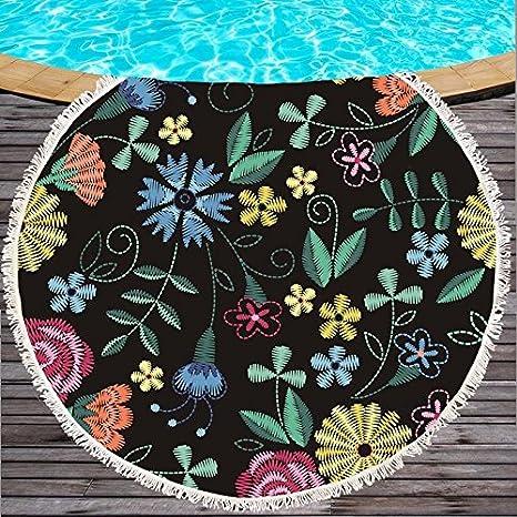 Singh Mandala Redondo Tapiz Toalla de Playa Mantel Tapiz de Pared Colgante Alfombra de Yoga Mantel delSobre Doble Uso Vacaciones Salvajes Picnic Mat: ...