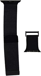 X-Doria Hybrid Mesh Apple Watch Replaceable Smartwatch Band for 38mm and 40mm Apple Watch - Stainless Steel Metal Mesh Loop and Leather with Magnetic Close for Apple Watch Series 1,2,3,4 (Black/Black)