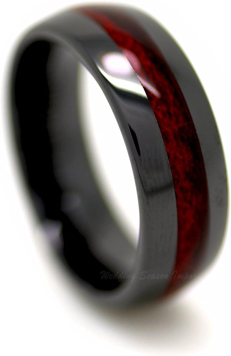 8MM Black Ceramic Wedding Band Ring with Burgundy Wood Laminate Inlay