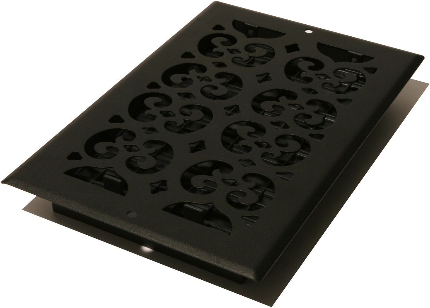 Decor Grates ST610W 6-Inch by 10-Inch Painted Wall Register, Black Textured