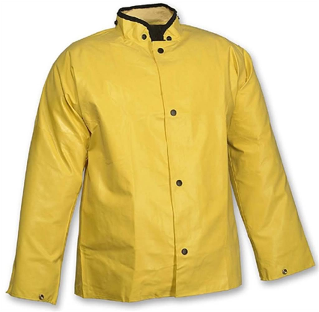 MAGNAPRENE J12207.SM Neoprene/Nylon Yellow Storm Fly Front Stitched & Taped Seams Jacket with Hood Snaps Small Yellow