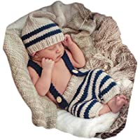 Fashion Cute Newborn Boy Girls Baby Costume Outfits Photography Props Hat Pants
