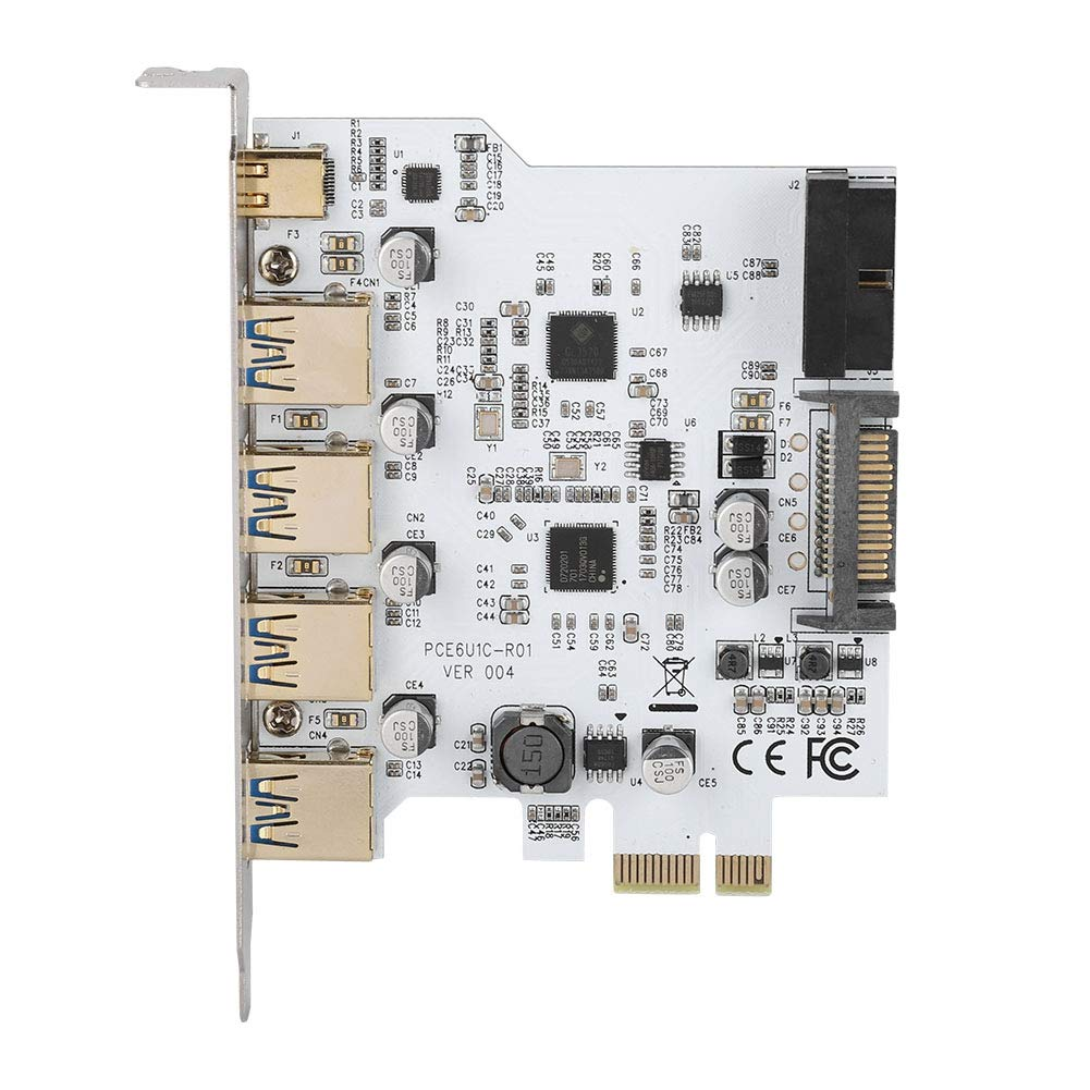 fosa Type-C Adapter Card Reversible USB-C//Type-C Connector PCI-E to USB3.0 4-Port Type C 19PIN Adapter Expansion Card Dual Interface with Driver CD for Windows//Linux