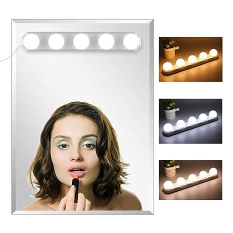 Set mit 10 LEDs verstellbar Spiegelleuchte Spiegel und Make-up f/ür Spiegel Stromversorgung /über USB
