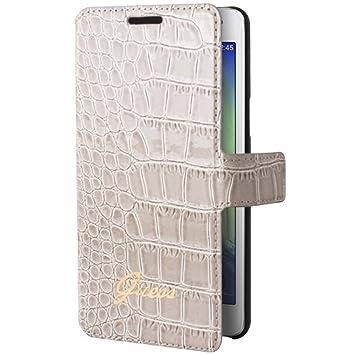 43572ab70b Guess GUFLBKSA5CRB Etui folio pour Samsung Galaxy A5 Motif Crocodile Beige