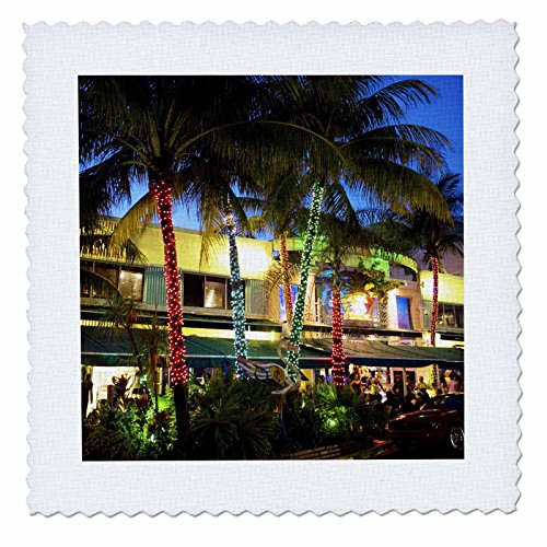 3dRose qs_89154_1 Ocean Drive, South Beach, Miami Beach, Florida - US10 GJO0300 - Greg Johnston - Quilt Square, 10 by 10-Inch