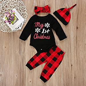 Vovotrade Infant/Toddler Baby Boy Girl Adorable Xmas Christmas Costume Romper +Pants+Cap+Headband (Red, 3M)