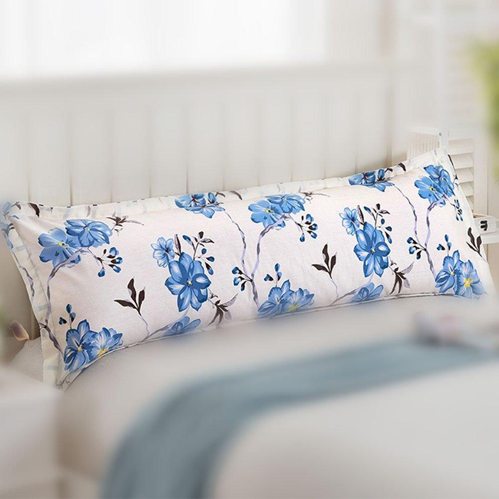 Amyove Cotton Home Sleep Bed Print Sofa Long Body Pillow Cover Protector Pillowcase Love flowers - purple; 48x120cm (double pillowcase)