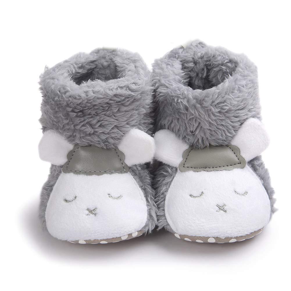 Panda Black 11cm Alamana Lovely Sheep Panda Baby Infant Plush Warm Anti-Slip Prewalker Toddler Shoes