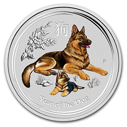 2018 AU Australia 1 oz Silver Lunar Dog BU (Colorized) 1 OZ Brilliant ()