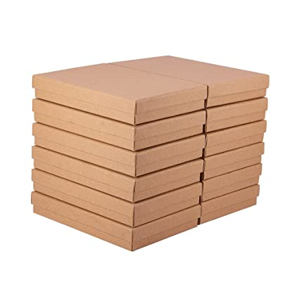 BENECREAT 12 Pack Cajas de Cartón de Tamaño Grande Kraft para Joyería, 18.1 x 12.5 x 2.8cm, Marrón