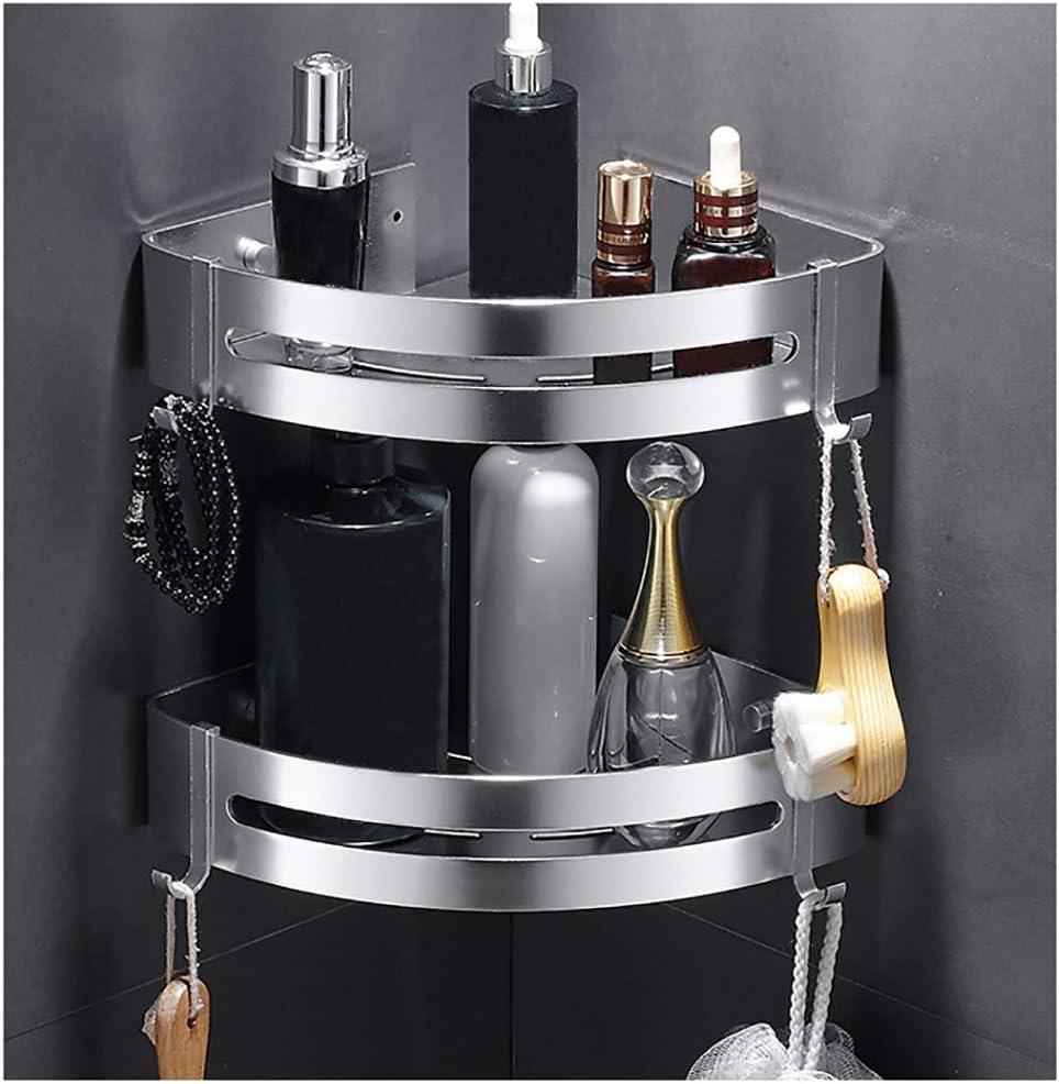 Kazeila Shower Shelf Corner Shelf - Bath Shower Tray with 2 Hooks - Shower Basket - Without Drilling - Space Aluminum, Polished (Triangle, 2 Pack)