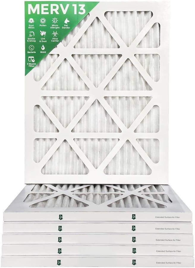 18x24x1 MERV 13 Box of 6 Pleated AC Furnace Air Filters MPR 2200