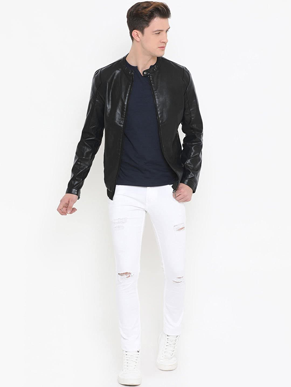 Mens Crazy Black Genuine Lambskin Leather Jacket Mens Jacket