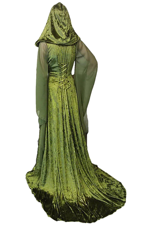 Sinastar Medieval Vintage Velvet Lace Up Back Trumpet Sleeves Hooded Gothic Dress Gown by Sinastar (Image #2)