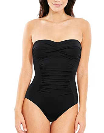 da069a322c6ba Figleaves Womens Bandeau Shaping Swimsuit Size 8 in Black: Amazon.co.uk:  Clothing