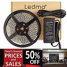 LEDMO Waterproof Flexible LED Strip Light Kit, SMD2835 300 Leds, 16.4ft/5m, Daylight White 6000K,LED Light Strip+a 12V 5A (60W) Power Supply/adapter