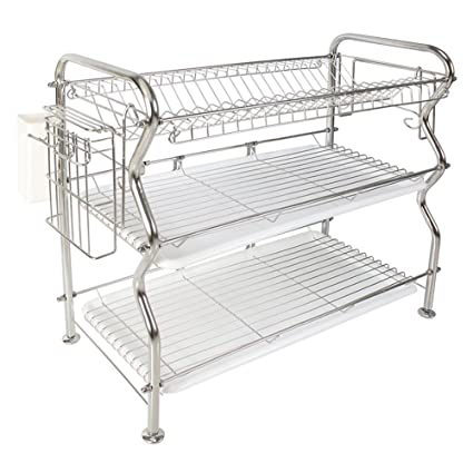 Amazon Com 3 Tier Dish Rack Nex Stainless Steel Cup Utensil