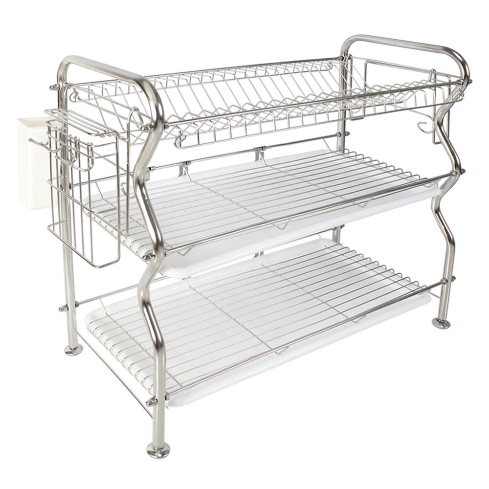 3-Tier Dish Rack,NEX Stainless Steel Cup Utensil Drying Rack Drainer Dryer Tray Holder with Cutlery Rack and Cutting Board Holder for Kitchen Counter