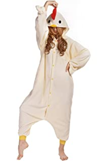 BELIFECOS Unisex Adult Pajamas Plush One Piece Cosplay Animal Costume Chicken