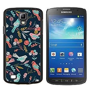 TECHCASE---Cubierta de la caja de protección para la piel dura ** Samsung Galaxy S4 Active i9295 ** --Aves del estampado de flores del papel pintado