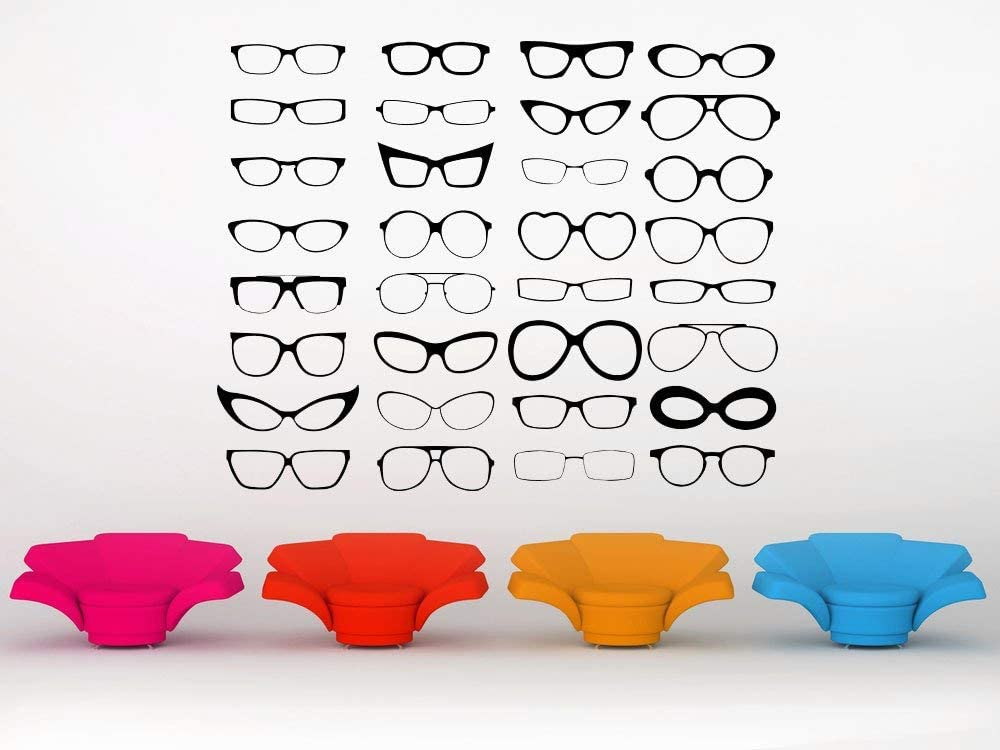Eye Glasses Glasses Decal Optometry Art Office Decor Office Decal Decorations Glasses Stickers Wall Art Wall Decal Wall Sticker Made in USA