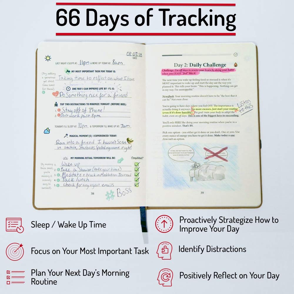 Bundle - Two Beige Morning Sidekick Journals. Morning Habit Tracker! A Science Driven Daily Planner for Building Positive Life Habits by Habit Nest (Image #4)