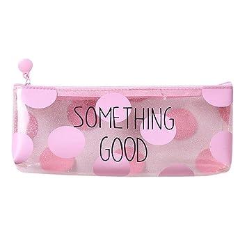 🤩 Estuche Escolar Barato, 🍀 Zolimx Rosa Transparente Lápiz Caso Cosmético Bolsa Maquillaje Bolsas Lápices Caja Estuche Escolar Niña (22 * 8 cm, A)