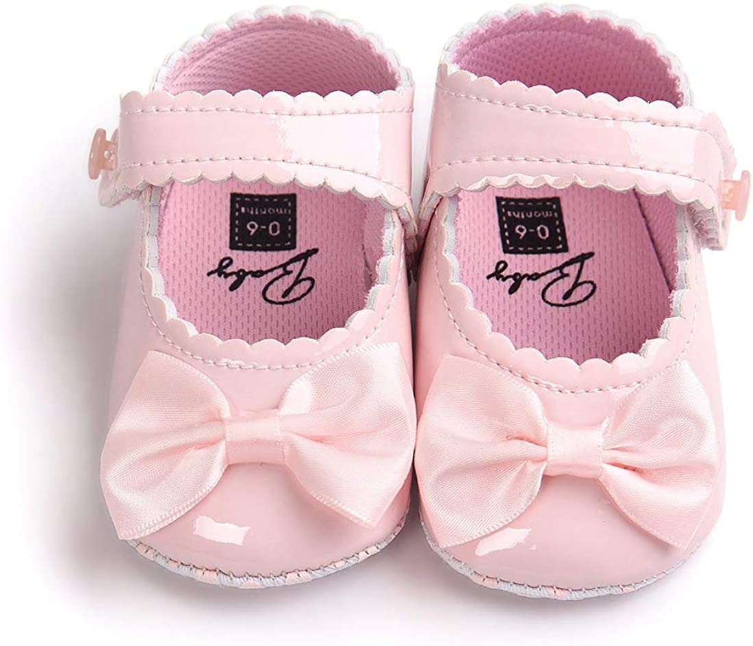 Sufancy Baby Girls Mary Jane Princess Crib Soft Sole Bowknot Shoes 0-18 Months