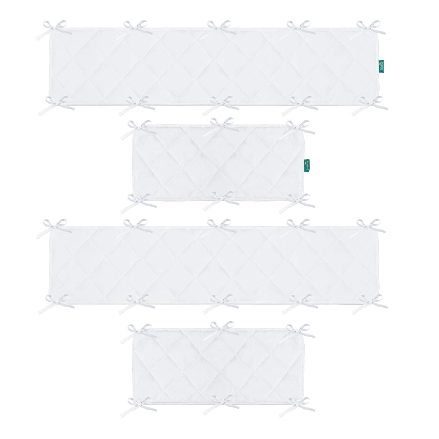 Safe Nursery Crib Bumper Pad, for Standard Size (52''x28'') Crib Toddler Bed, Washable Crib Bedding Bumper Liners 4 Pieces/Set, White by Biloban