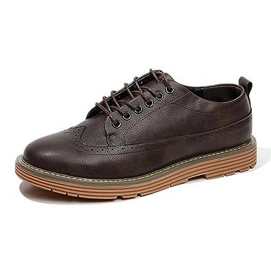 HIROLU Business Schuhe Herren Schnürhalbschuhe Anzugschuhe Lederschuhe  Oxford Schuhe Smoking Lackleder Hochzeit Derby Leder Brogue Schuhe 960d2dbd4f