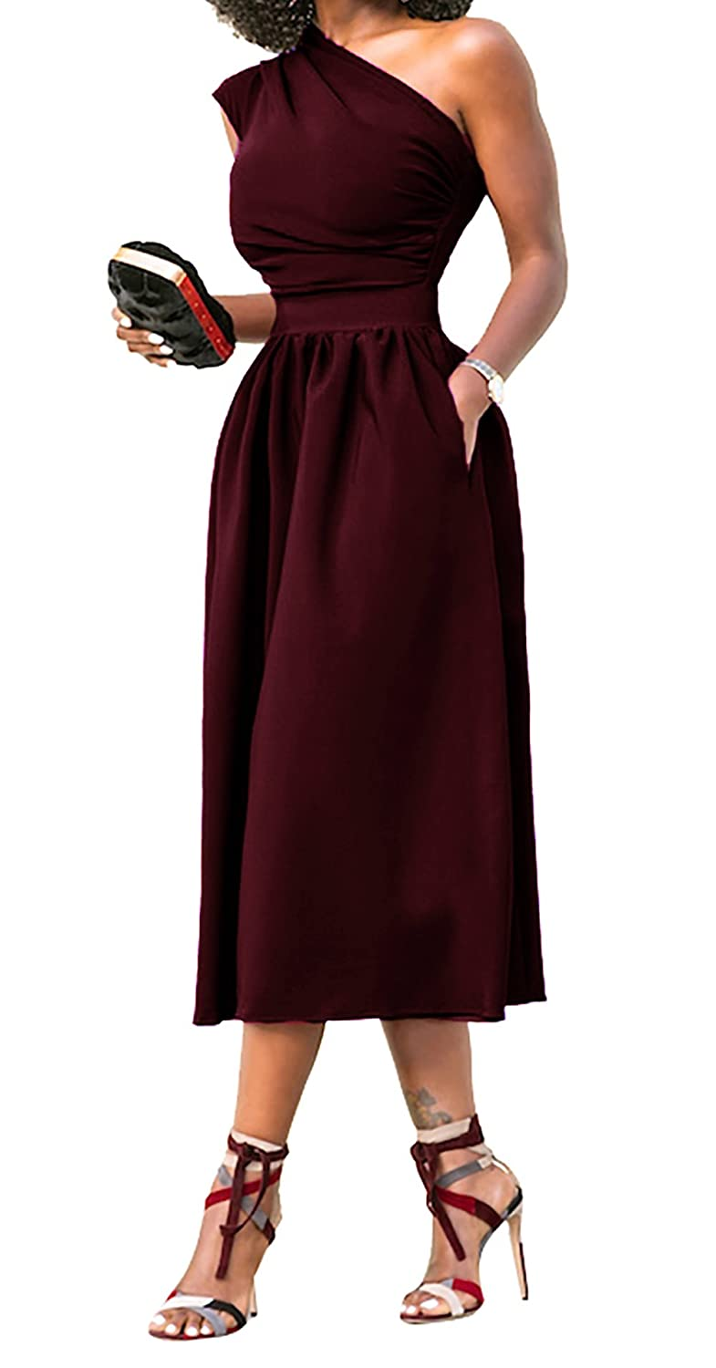 9c048b927410 Angerella Plus Size Casual Dresses for Women Club Prom Homecoming Cocktail  Ladies Evening Dress Wine Red, 2XL at Amazon Women's Clothing store:
