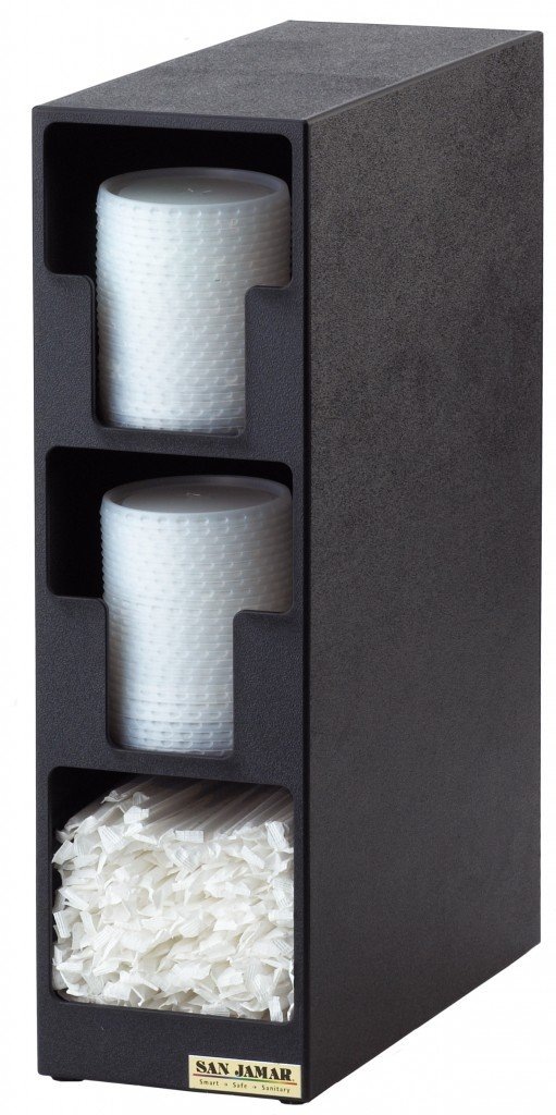 San Jamar L2202 Polystyrene Dimension Lid Towel Dispenser with 2 Lid and 1 Straw Compartment, 5-1/2'' Width x 18-3/4'' Height x 13'' Depth, Black