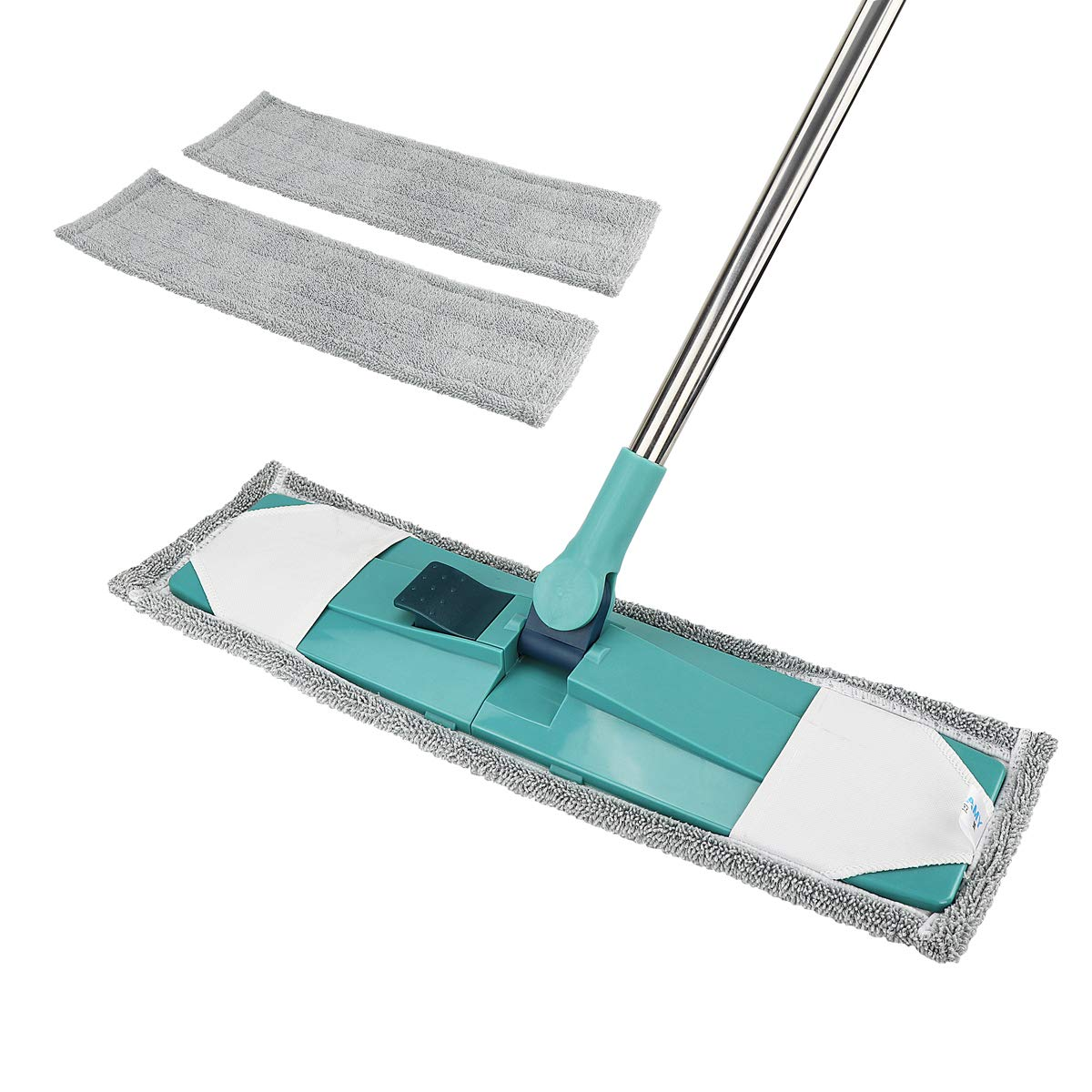 Microfiber Mop, Dust Mop Dry Mop for Hardwood Laminate Tile, Floor Mop with Washable Pads and Telescopic Handle Made of Stainless Steel, Dry Wet Cleaning 2 Replacement Mop Cloths for Free