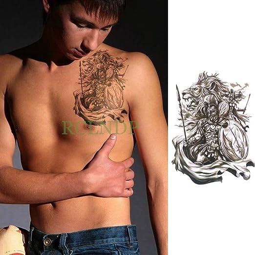 Etiqueta engomada del Tatuaje Temporal Impermeable Guerrero león ...