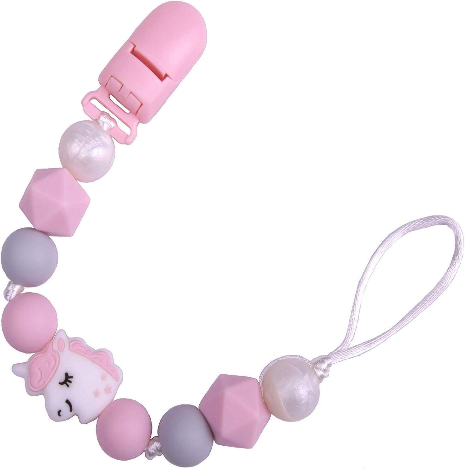 Perles en Silicone Souple Dentition Chainette avec Clip Universel Rose PREMYO Attache Sucette B/éb/é Fille Renard