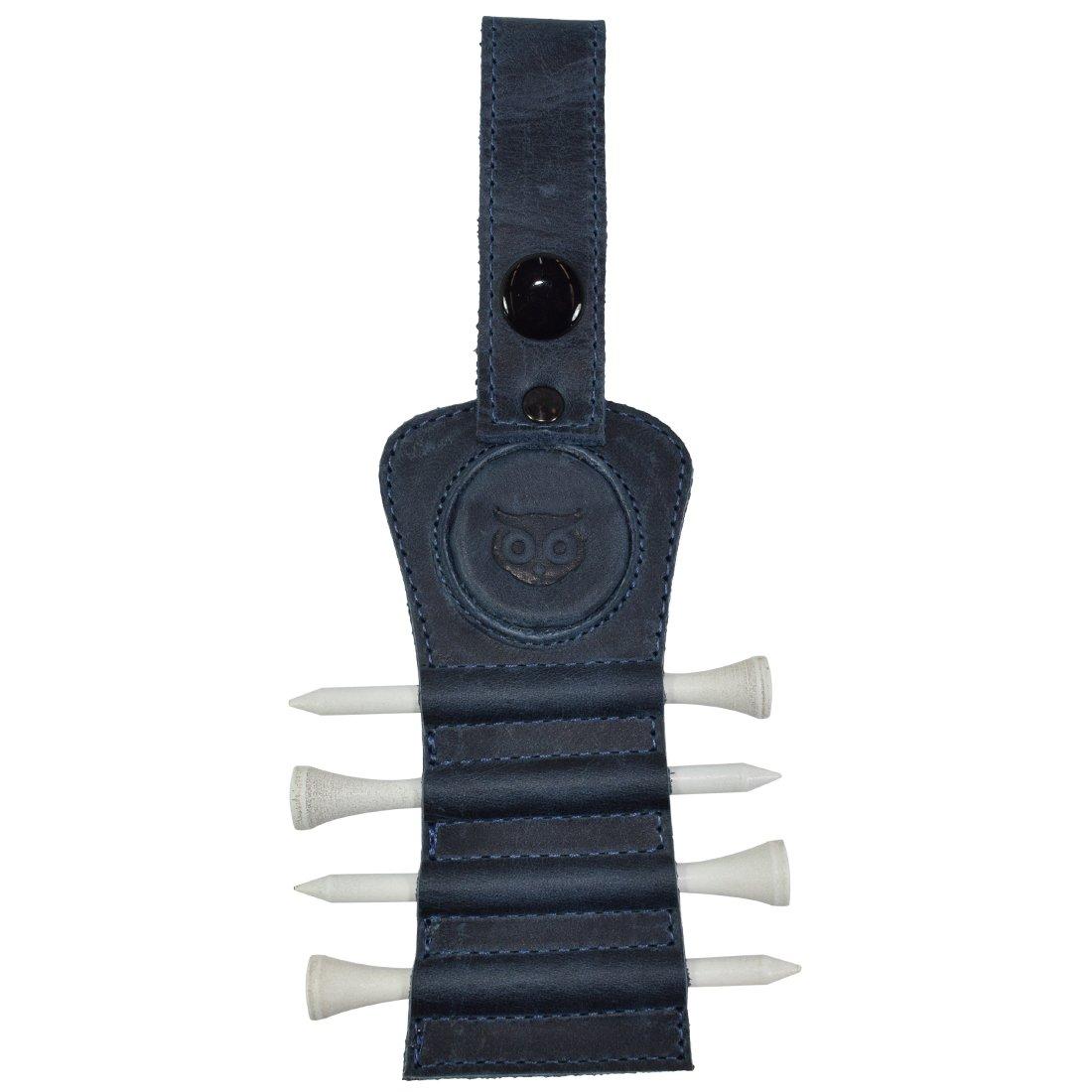 Golf Tee Holder Leather Gift Hook to Golf Bag Belt Clip :: Slate Blue
